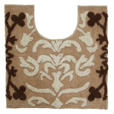 Homescapes Beige Damask Cotton Pedestal Mat