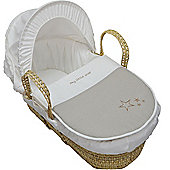 My Little Star Moses Basket With Mattress And Bedding Cream