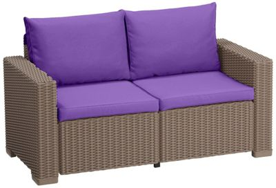 Gardenista Replacement 4 Piece Seat Pad Set for Keter Allibert California 2 seater Sofa - Purple