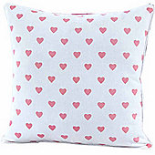 Homescapes Cotton Pink Hearts Cushion Cover, 45 x 45 cm