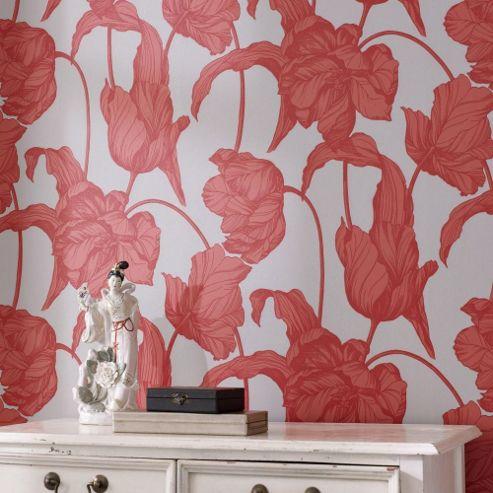 Graham & Brown Tulips LLB Harem Wallpaper - Coral Imperial