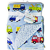 First Steps vehicles Supersoft Mink/Sherpa Reversible Baby Blanket