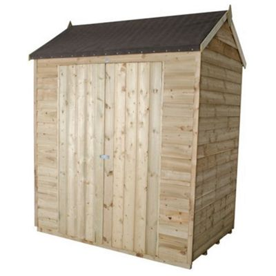 4 x 6 Rock Pressure Treated Apex Reverse Overlap Shed With Double Doors 4ft x 6ft (1.22m x 1.83m)