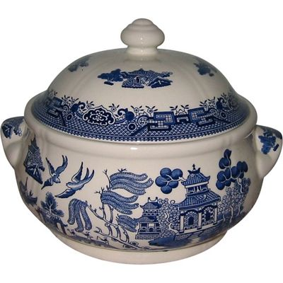 Churchill Blue Willow Mint Covered Loose Vegetable Dish, 1720ml