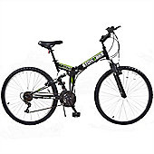 "Stowabike 26"" Mtb V2 Folding Dual Suspension 18Sp Gears Mountain Bike Black"