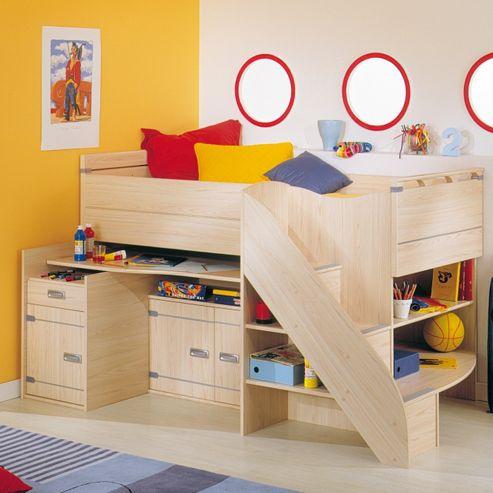 Gami Skipper Compact High Sleeper Bed Frame and Desk Set in Ash