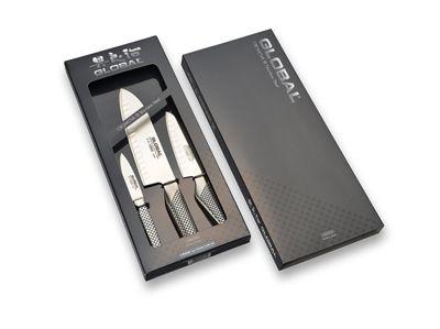 Global Japanese Vanadium Razor Sharp 3 Piece Kitchen Knife Set