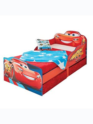 Disney Cars Lightning McQueen Toddler Bed With Storage Plus Deluxe Foam Mattress