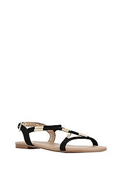 F&F Faux Suede Tube Sandals - Black