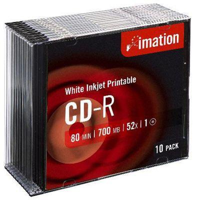 Imation 52x Inkjet Printable Slimline CD-R 10 Pack