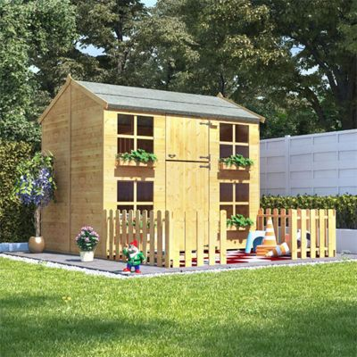 7x5 BillyOh Gingerbread Max Children Wooden Playhouse Outdoor Playground - Premium with 2ft Picket Fence