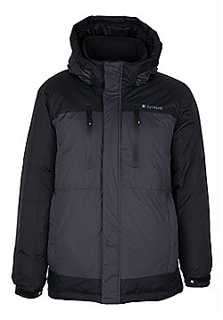 Trondheim Extreme Mens Multi Pocket Wind Resistant Down Padded Coat Jacket - Black