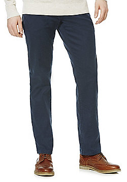 F&F Twill Stretch Straight Leg Trousers with Belt - Navy