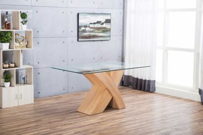Milano Oak Veneer X Dining Table