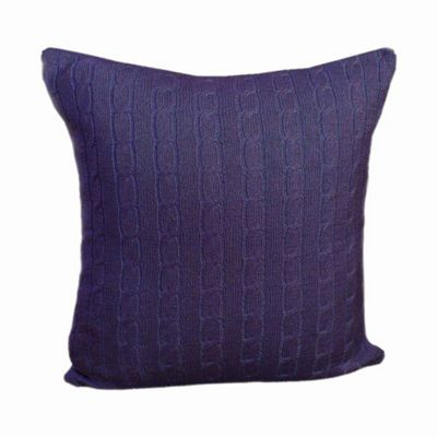 Homescapes Cotton Cable Knit Navy Blue Cushion Cover, 45 x 45 cm