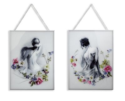 Adriana/Sophie Set of 2 Glass Prints 40cm x 30cm Each