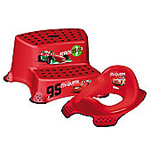 Disney Cars 2 Toddler Toilet Training Seat & Double Step Stool Combo - Red