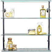 Maxwell - Wall Mounted Wide Glass Cd Dvd Storage Shelves - Clear / Silver
