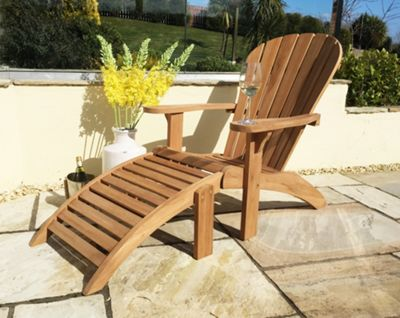 Teak Adirondack Chair with Footstool