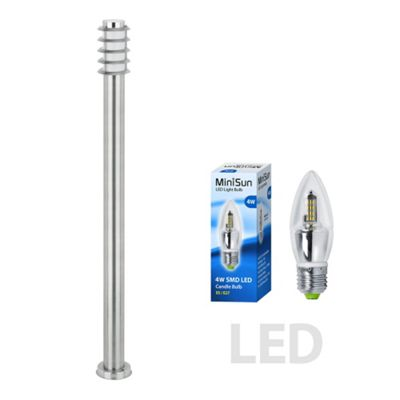 Wharf IP44 Outdoor 1M LED Bollard in S/S with a Frosted Candle Bulb