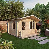 3.29m x 3.78m (11ft x 12ft) Sutton Value Apex Log Cabin Including Verandah (2 7 0.8m) - 19mm T&G Garden Cabin - Fast Delivery - Pick A Day