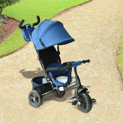 Homcom Kids Tricycle Ride on 3 Wheels Canopy Bike w/ Handle - Blue