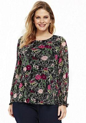 Evans Floral Mesh Plus Size Top Multi 26-28