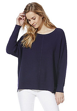 F&F Ribbed Batwing Jumper with As New Technology - Navy