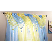 """Plain Voile Swags With Tassel - 20x18"""" - Blue"""