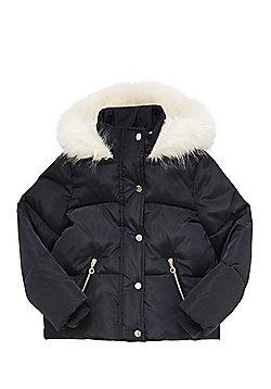 F&F Faux Fur Trim Padded Hooded Jacket - Navy