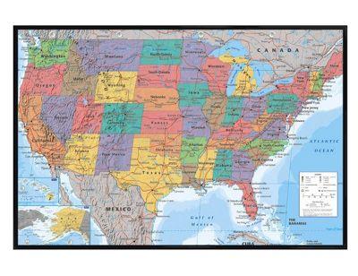 Gloss Black Framed Map Of The USA Poster