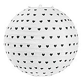 Miss Etoile White with Black Hearts Rice Paper Lampshade Ø 41 cm