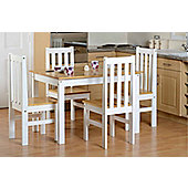 Valufurniture Ludlow 1+4 Dining Set Oak/White