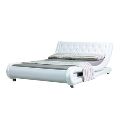 Comfy Living 5ft King Curved Button Detail Faux Leather Bed Frame in White with 1000 Pocket Damask Memory Mattress