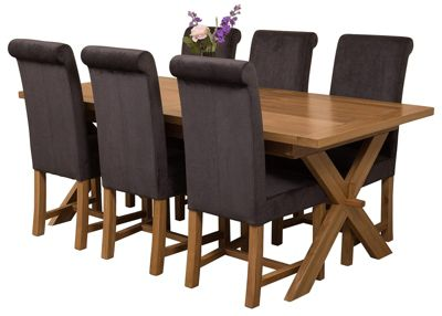 Vermont Extending Kitchen Solid Oak Dining Set Table & 6 Black Fabric Chairs