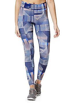 F&F Active Graphic Print Leggings - Blue