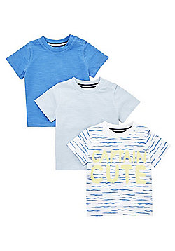 F&F 3 Pack of Slogan and Plain Short Sleeve T-Shirts - Blue