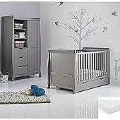 Obaby Stamford 2 Piece Cot Bed/Wardrobe + Sprung Mattress - Taupe Grey