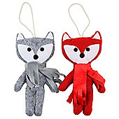 Set of 2 Red & Grey Felt 18cm Scandi Fox Christmas Tree Decorations