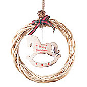 Hanging Rustic Wood & Wicker 21cm Wreath with 'Merry Christmas' Rocking Horse