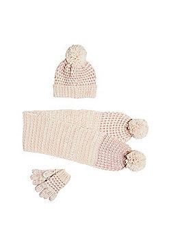 F&F Sparkle Knit Scarf, Hat and Gloves Set - Beige