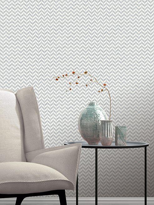 Incanto Leaf Geometric Wallpaper Grey Rasch 308631