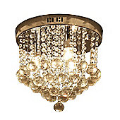 Homcom Crystal Chandelier Round Ceiling Lamp Pendant Fixture Flush Mount Sliver Ф30 x 30cm