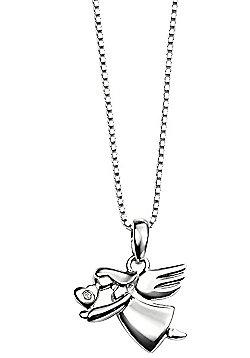Children's D for Diamond Silver Flying Angel Pendant