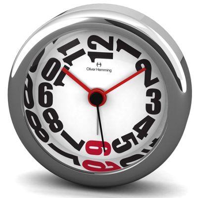 Oliver Hemming Alloy Desire Alarm Clock - 5.8cm - White / Red