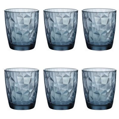 Bormioli Rocco Diamond Dimpled Double Old Fashioned Tumblers - Ocean Blue - 390ml - Pack of 6