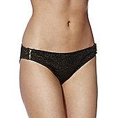 F&F Zip Detail Metallic Bikini Briefs - Black