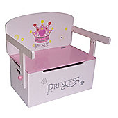 Kiddi Style Princess Themed Wooden Childrens Convertible Toy Box & Bench