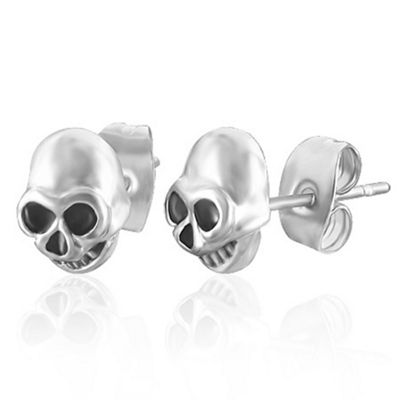 Urban Male Men's Earrings In Stainless Steel Skull Design 7mm