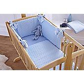 Clair De Lune Dimple Rocking Cradle Quilt and Bumper Set - White - Blue